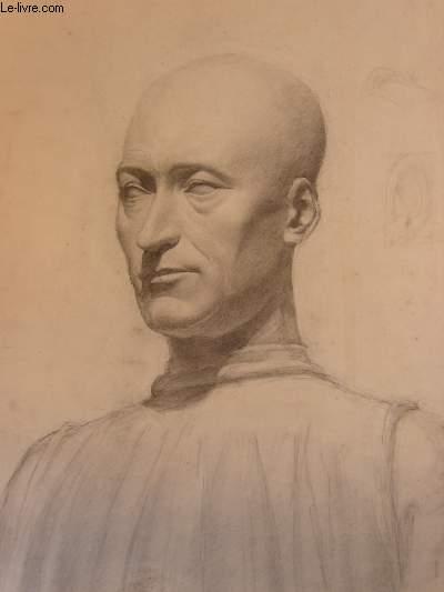 Portrait original d'un homme chauve, dessiné de face 3/4, au crayon.