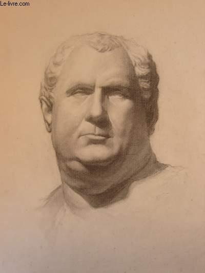 Portrait original d'un homme de forte corpulence, aux cheveux blancs. Dessiné de face.