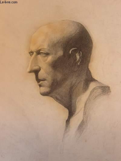 Portrait original d'un homme chauve, de profil, au nez pointu.