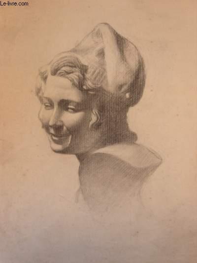 Portrait original d'une femme aux cheveux mi-longs, de 3/4 face, coiffée d'un bonnet.