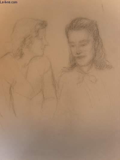 Esquisse originale de 2 femmes conversant.