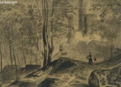 Dessin original au fusain, en noir et blanc, d'une forêt avec 2 personnes dont un enfant s'y promenant. Avec un château en fond.