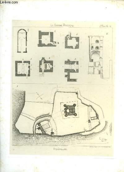 Gravure originale de Roquetaillade, tirée de la Guienne Anglaise.