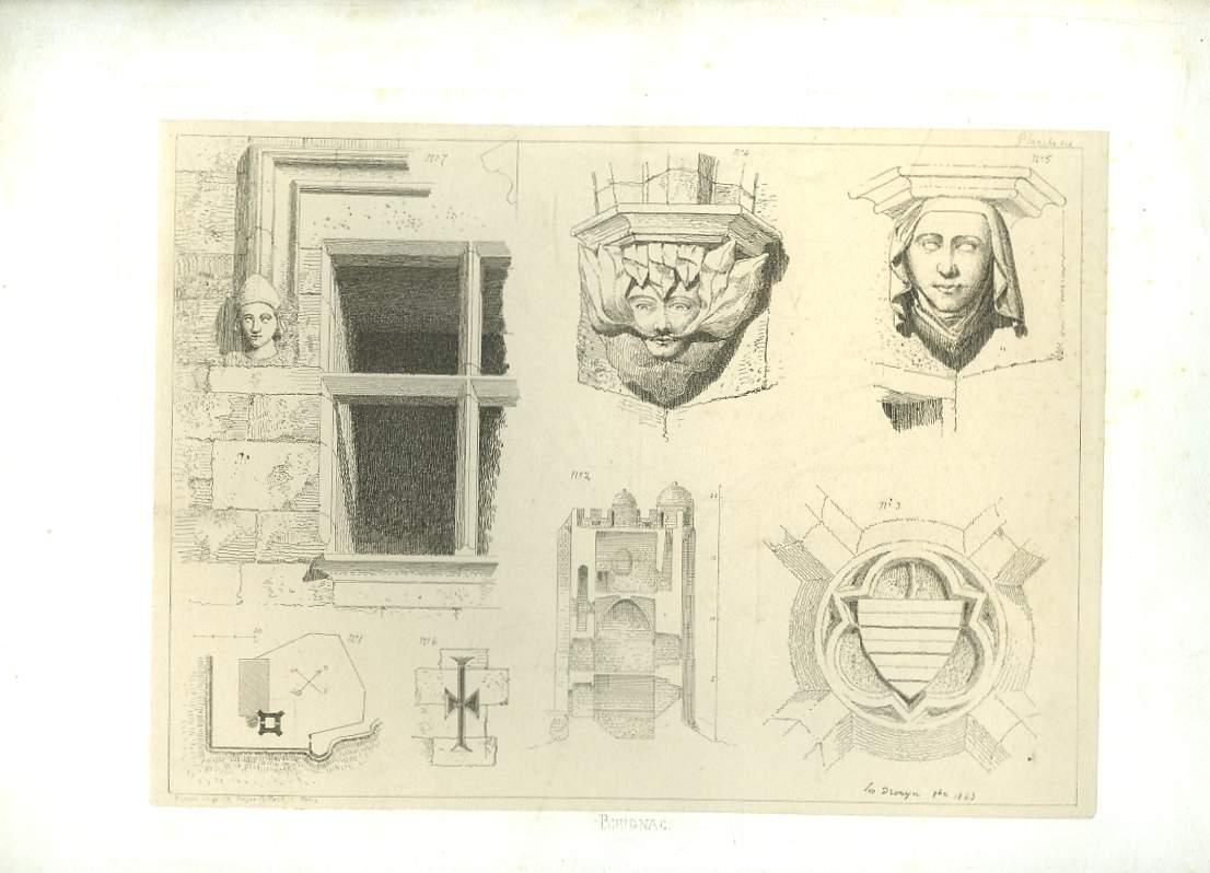 Gravure originale de Brugnac. Décoration en tête de colonnes.