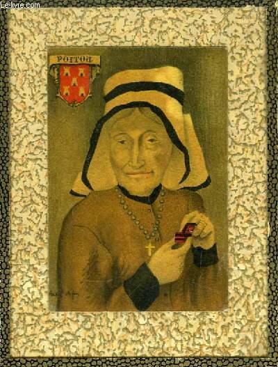 Carte Postale Ancienne (CPA), portrait original en couleurs, d'une femme coiffée du Poitou.