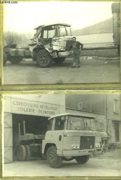 2 photographies originales, d'un garagiste auprès d'un Camion Willeme,  camion militaire de la Guerre d'Algérie, avant et après réparation. (Chalons sur Marne)