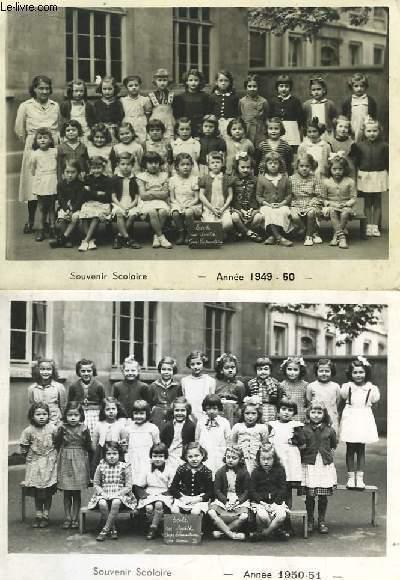 Lot de 6 photographies originales anciennes en noir et blanc, de L'Ecole Rue Smith Cours Prépératoire Années, 1949 - 50, 1950 - 51, 1951 - 52, 1952 - 53, 1953 - 54.
