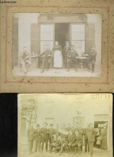 Lot de 11 photographies originales non situées (Vers Marseille) + 1 Carnet souvenir, représentant différents regroupements (scolaires ou commerciaux), en pose dans les rues ou en campagne.