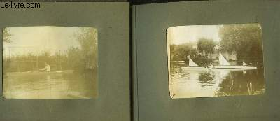 Album de 25  photos anciennes originales, en noir et blanc. Représentant plusieurs clichés de canoës, barques et embarcations diverses (dont le canoë Thithi-Thouthou) sur un lac ou un fleuve, et de quelques portraits.