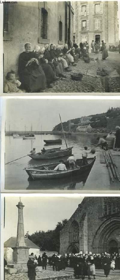Lot de 56 photographies anciennes originales, de Bretagne : Bretonnes sur le quai de Douarnenez, Morgat lors du retour de la pêche, Chapelle Trégourez, Chateaulin et le Canal, Pont Labbé ...