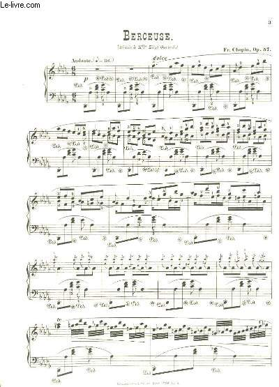 Berceuse. Op. 57. Partitions pour Piano.