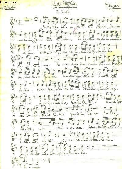Ave Maria. Partition pour Chants à 2 Voix. Reproduction manuscrite.