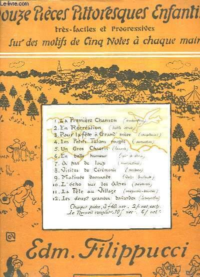 Douze Pièces Pittoresques Enfantines, très faciles et progressives, sur des motifs de Cinq Notes à chaque main. Partitions Piano