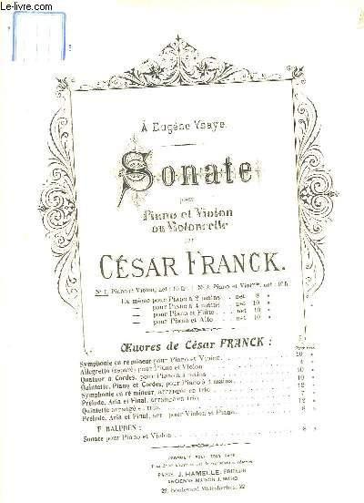 Sonate pour Piano et Violon ou Violoncelle. N°1 : Piano et Violon.