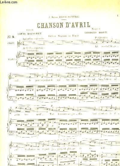 Chanson d'Avril. Chant (Soprano ou Ténor) et piano.