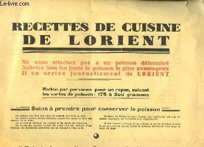 Recette de Cuisine de Lorient. Soins à prendre pour conserver le poisson. Principales manières d'accomoder le poisson. Les sauces.