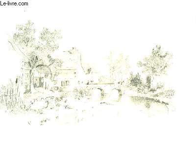 Un dessin original, au crayon d'une entr�e de village, avec son pont de pierre, travers�e par un passant et un �ne.  Au premier plan, une rivi�re et quelques roseaux sur les rives.