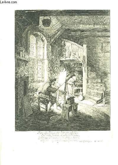 Gravure XVIIe représentant un peintre en action, accompagné de 2 assistants, dans son atelier.