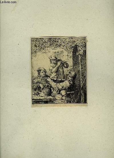 Gravure en noir et blanc, d'un groupe de 3 hommes, dont 2 jouant de la flûte et du violon.