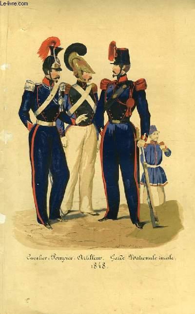 Gravure en couleurs d'un Cavalier, d'un Pompier et d'un Artilleur de la Garde Nationale rurale, en 1848