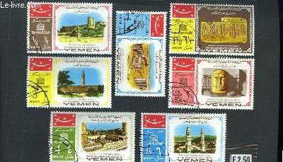 Collection de 7 timbres-poste oblitérés, du Yemen. Temples.