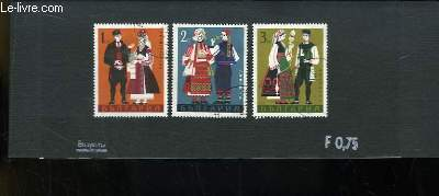 Collection de 3 timbres-poste oblitérés, de Bulgarie. Costumes bulgares.