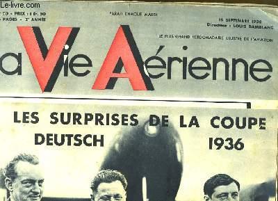 La Vie Aérienne. N°50 - 2ème année : Les Surprises de la Coupe, Deutsch, 1936 - Yves Lacombe, Maurice Arnoux, Raymond Delmotte.