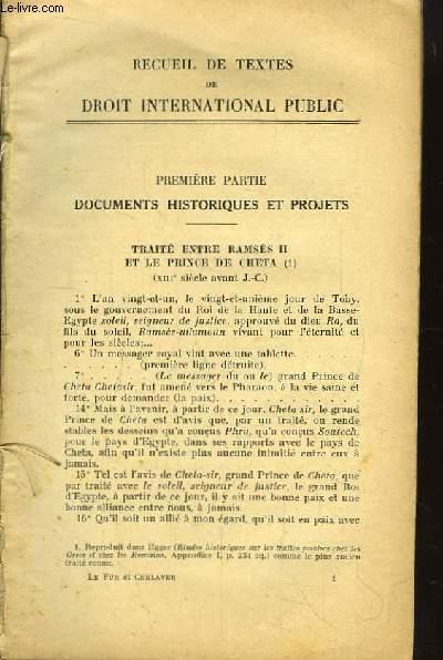 Recueil de Textes de Droit International Public.