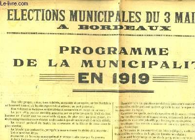 Journal des Elections Municipales du 3 Mai 1925 à Bordeaux. Programme de la Municipalité en 1919