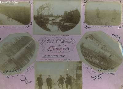 6 photographies originales, albuminées, en noir et blanc, du Port Sainte-Marie à Condom. 22 - 23 avril 1911. Vue de Cassagne, Route de Beauregard. Vieux Moulin. Terrasse de la Cathédrale.