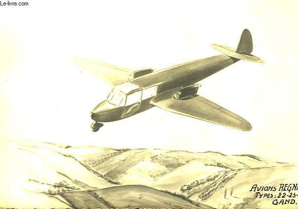 Reproduction de peinture en noir et blanc d'un Avion Regnier, � Gand.