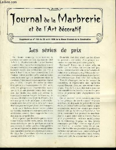 Journal de la marbrerie et de l art d coratif suppl ment for Prix de la construction belgique