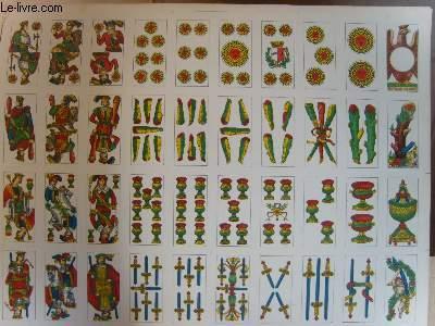 Une planche de 40 cartes de jeux (de Tarot ?)