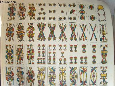 Une planche de 40 cartes de jeux ( Tarot ? )
