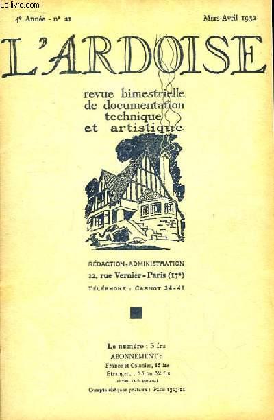 L'Ardoise N°21 - 4ème année : 1682 - 1932 - Intersections d'un Plan carré avec un mur ou une cheminée - L'Ardoise et les Laboratoires -