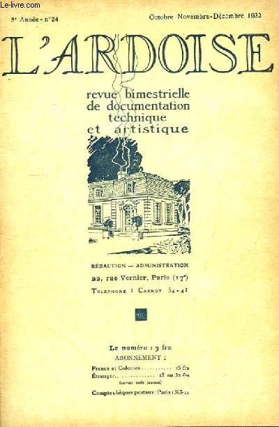 L'Ardoise N°24 - 5ème année : L'Ardoise jugée par les architectes - Couverture décorative (suite) - Les dallages de luxe en ardoises