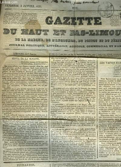 Gazette du Haut et Bas-Limousin, de la Marche, de l'Angoumois, du Poitou et du Périgord. Supplément au N°2 - 6ème année : Les vainqueurs de Mascara - Route projetée de Chalus à Martoulet