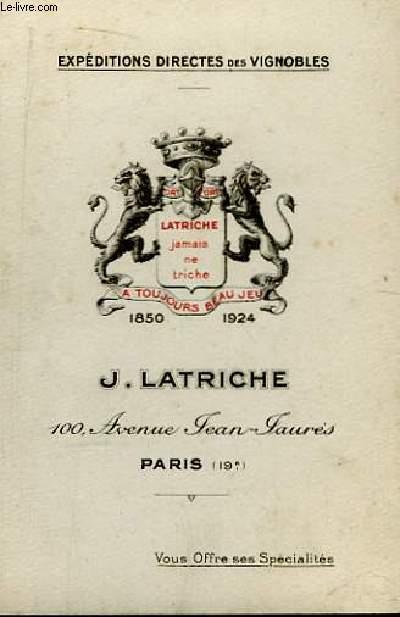 Carte de Visite de J. Latriche, Expéditions Directes des Vignobles.