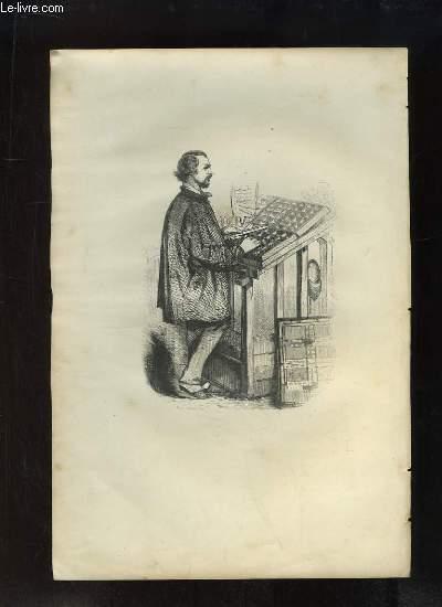 Gravure XIXe si�cle, en noir et blanc, d'un homme face � son atelier, pupitre.