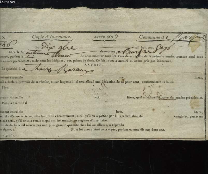 Feuille d'Inventaire n°146 d'un stock de Vins, Année 1807, Commune de Barjac.
