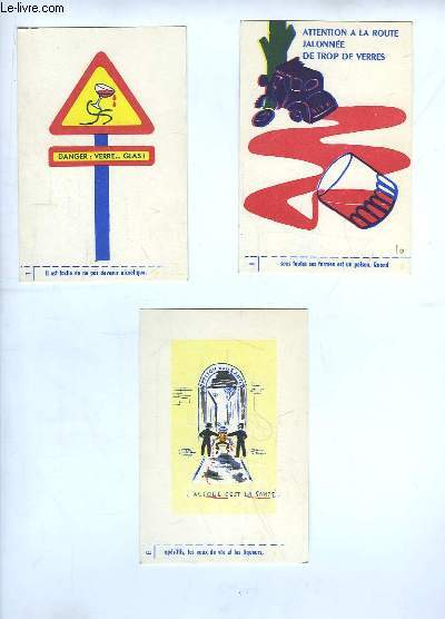 Lot de 3 Cartes Postales de la Prévention contre l'Alcool au Volant.