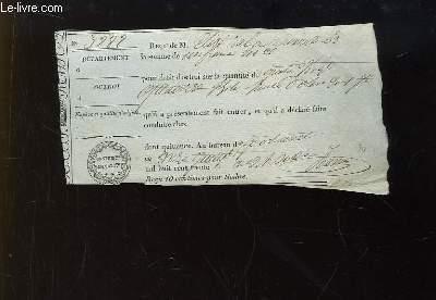 Reçu de M. Elisé . pour droit d'octroi sur la quantité de 94 bouteilles d'huile d'olives, daté du 11 juillet 1836. N°3888