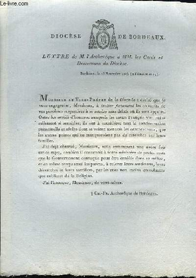 Lettre de M. L'Archevêque à MM. les Curés et Desservans du Diocèse.