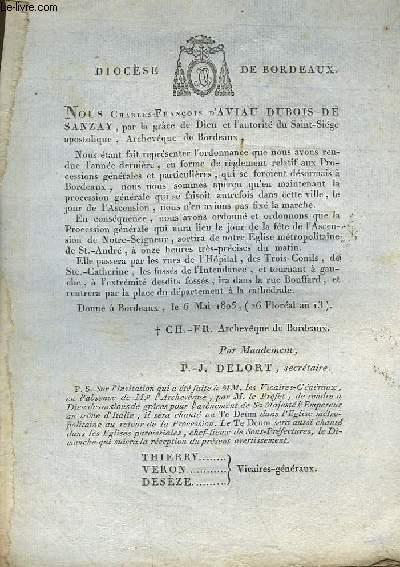 Lettre de M. Charles-François d'Aviau Dubois de Sanzay.