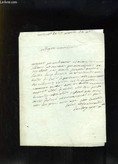 Lettre manuscrite � la plume. Virsac, Cimeti�re et Eglise.