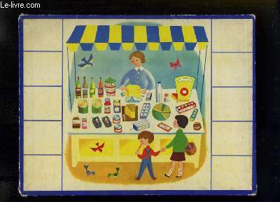 Planche illustrée, de 2 enfants devant un stand d'épicerie.