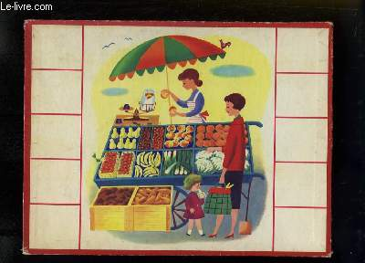Planche illustrée, d'une maman avec sa fille devant un stand de fruits et légumes.