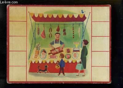 Planche illustrée, d'une maman et son fils devant un stand de boucher-charcutier