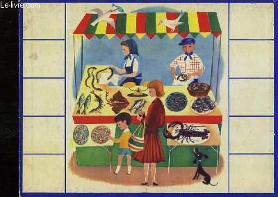 Planche cartonnée illustrée, d'une maman et son fils devant une poissonnerie.
