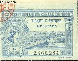 Talon d'un Ticket d'Entrée à l'Exposition Universelle de 1900